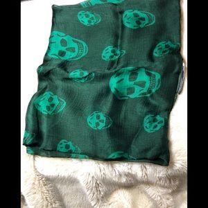 Alexander McQueen Skull Scarf- Green